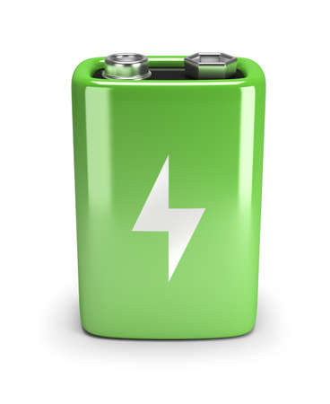 recharge: Green battery. 3d image. Isolated white background.