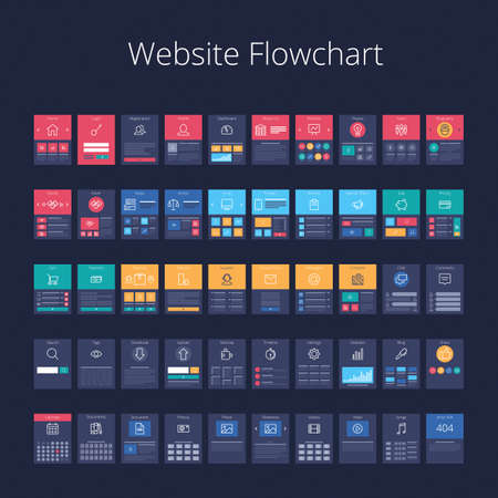 diagrama de flujo: tarjetas de diagrama de flujo para la planificación de estructura del sitio web. Pixel-perfecta ilustración vectorial capas.