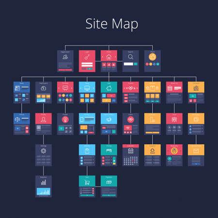 Konzept der Website Flussdiagramm Sitemap. Pixel-perfekte geschichteten Vektor-Illustration. Standard-Bild - 56696859