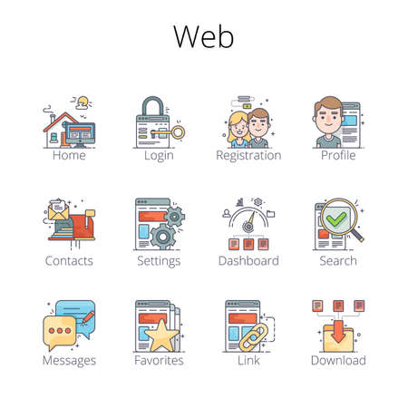 sites: Web Outline Icons. Pixel-perfect layered vector illustration.
