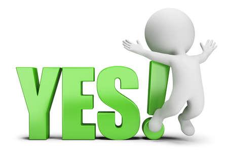 3d klein persoon springen naast ja. 3D-beeld. Witte achtergrond. Stockfoto