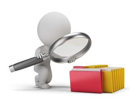3d small person with a big magnifying glass looks for documents in folders. 3d image. White background. Stockfoto