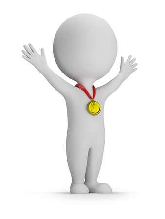medal: 3d small person in the pose of the winner with a gold medal. 3d image. White background.