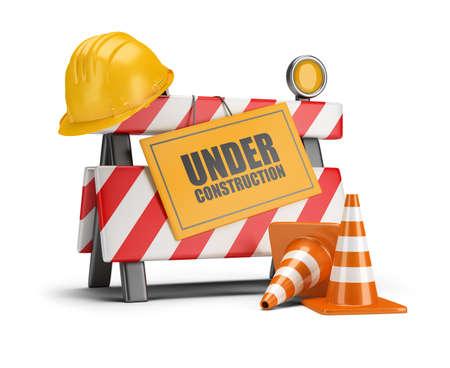 urban planning: Under construction barrier. Traffic cones. Road sign. Construction helmet. 3d image. White background.