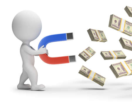 money packs: 3d small person with a big magnet attracts packs of money. 3d image. White background. Stock Photo