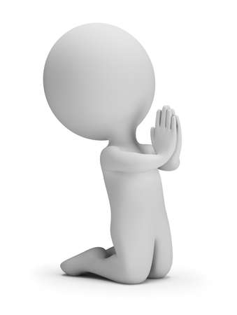 3d small person in a posture of prayer. 3d image. White background.