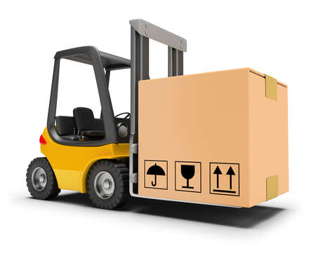 lift truck: Forklift with box. 3d image. White background.