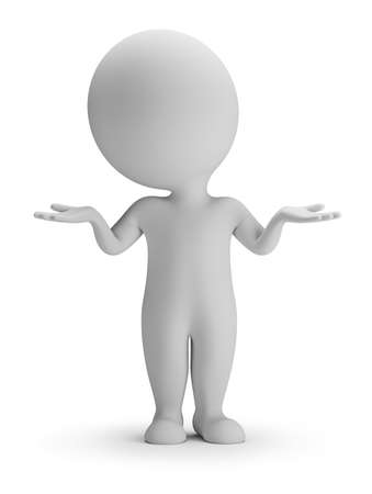 baffled: 3d small person in the perplexity pose. 3d image. White background. Stock Photo