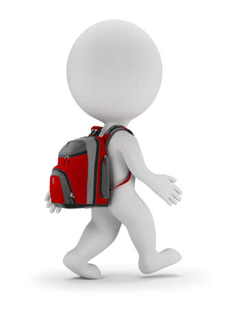 backpack: 3d small person walks with bag to school. 3d image. White background. Stock Photo
