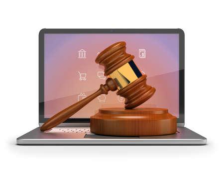Subasta en línea. Mazo en el ordenador portátil. 3d imagen. fondo blanco aislado.