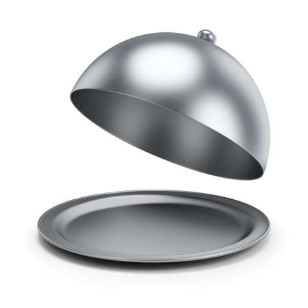 plate: Open cloche. 3d image. Isolated white background.