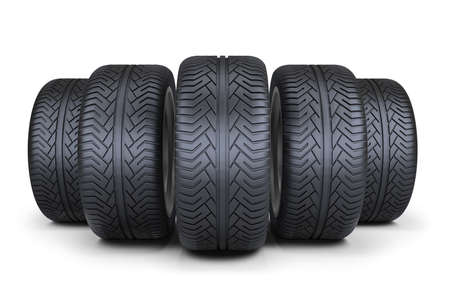 pneumatic tyres: Five wheels. 3d image. Isolated white background. Stock Photo