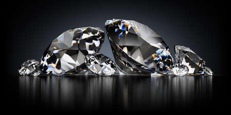 3D-beeld. Diamanten op een zwarte reflecterende achtergrond.