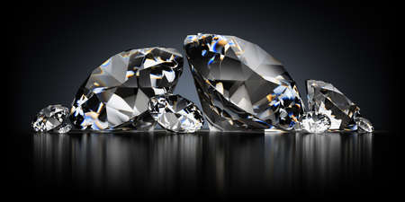 pietre preziose: immagine 3D. Diamanti su un fondo nero riflettente. Archivio Fotografico