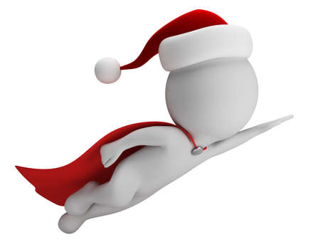 3d small person - flying Super Santa. 3d image. White background.