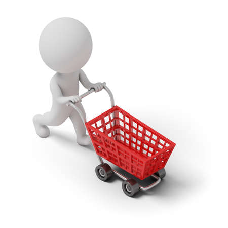 retailer: Isometric person with shopping cart. 3d image. White background.