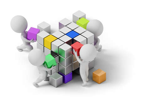 isometric people - concept of creating. 3d image. White background. Imagens
