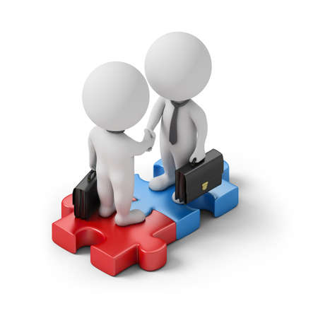 Isometric business people standing on the puzzle and make a handshake. 3d image. White background. Stockfoto