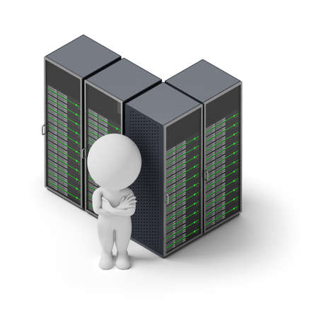 Isometric person standing on a background server. 3d image. White background.