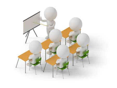等尺性人トレーニング コースで勉強します。3 d 画像。白い背景。