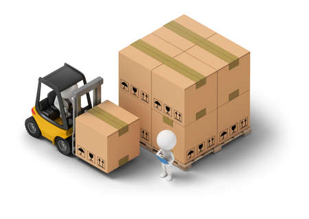 delivery service: 3d isometric people - warehousing. Forklift and storage boxes. 3d image. White background.