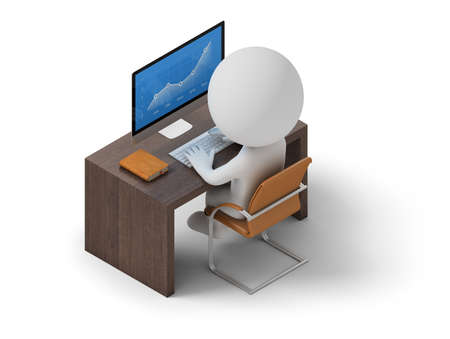 grey: Isometric person sitting at his workplace. 3d image. White background. Stock Photo