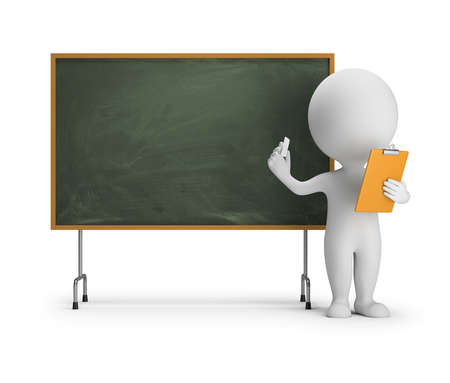 white background: 3d small person standing next to the blackboard with chalk and a clipboard in his hands. 3d image. White background.
