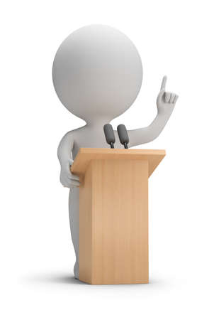 man: 3d small people said it from the podium. 3d image. White background. Stock Photo