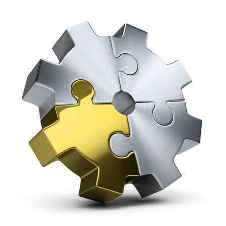 communication: Gear of jigsaw puzzles. 3d image. Isolated white background.