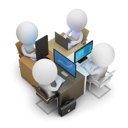 3d small people - development team of four work places. 3d image. White background. Stock Photo