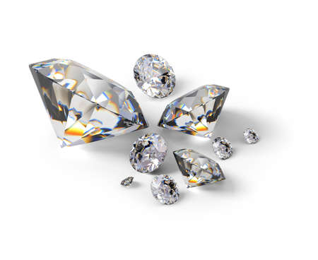 Isometric diamonds. 3d image. Isolated white background.