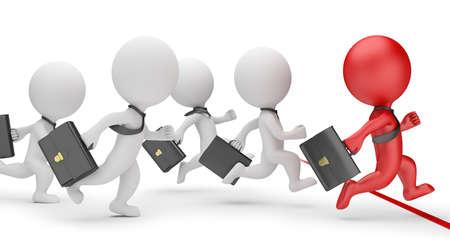 Piccole persone 3d - business sprint. Immagine 3D. Sfondo bianco.