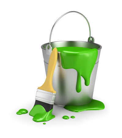 white work: Bucket of green paint and brush close. 3d image. Isolated white background.