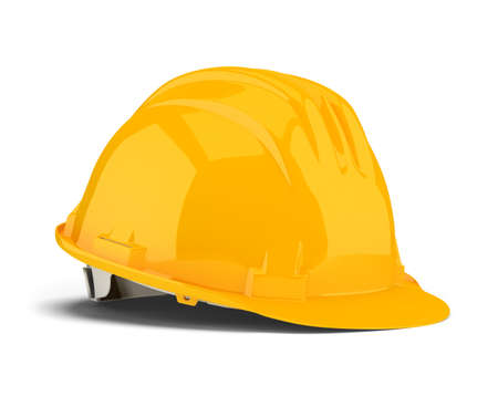 jobs: Yellow construction helmet. 3d image. Isolated white background.