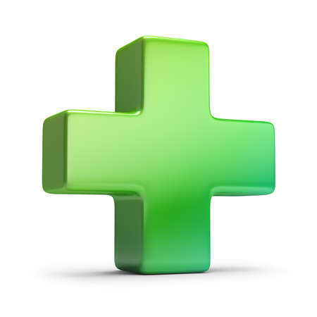 Green cross. 3d image. Isolated white background. Stock Photo