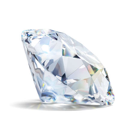 solid: Gorgeous diamond. 3d image. Isolated white background.