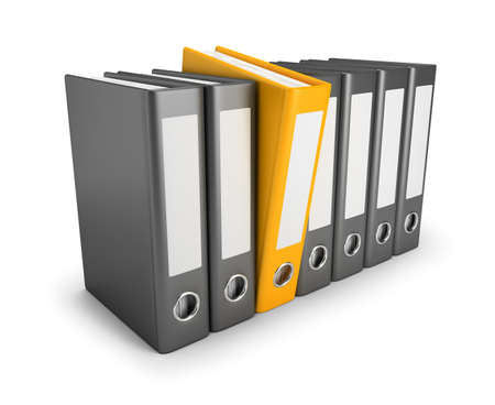 catalog: Yellow folder released in a number of conventional folders. 3d image. Isolated white background. Stock Photo