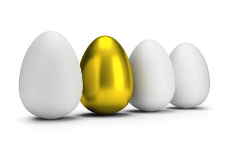 white background: Golden egg among ordinary eggs. 3d image. Isolated white background. Stock Photo