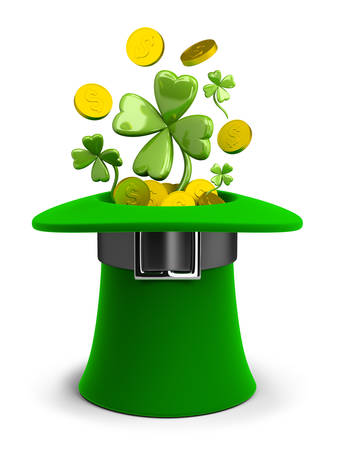 fourleaf: St Patricks hat with coins and clovers. 3d image. Isolated white background.