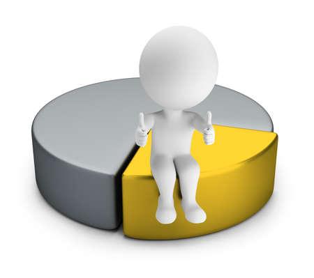 3D kleine Person mit zwei Daumen sitzt oben auf dem besten Teil des Diagramms. 3D-Bild. Weißer Hintergrund. Standard-Bild