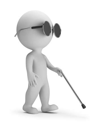 invalid: 3d small person - blind with a wand. 3d image. White background.