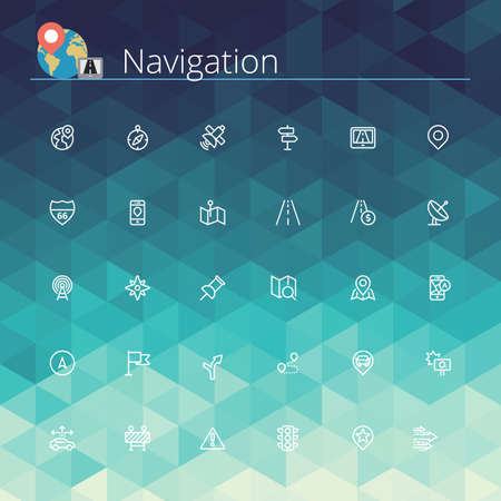 Navigation and location line icons set. Pixel perfect icons. Vector illustration. Geometric pattern.