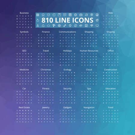 810 line icons set. Vector illustration. Geometric background.