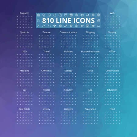 real: 810 line icons set. Vector illustration. Geometric background.