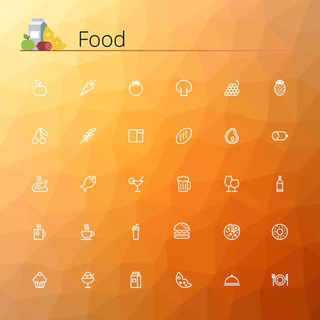 people: Food line icons set. Pixel perfect icons. Vector illustration. Geometric background.