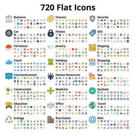 720 flat icons set. Vector illustration.