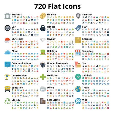 720 płaski zestaw ikon. Ilustracji wektorowych.