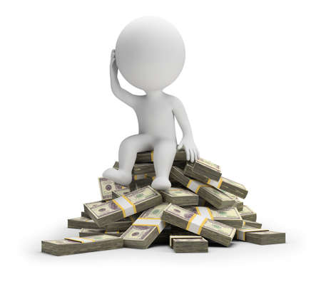 3d small person sitting in a pensive pose on a pile of money. 3d image. White background.