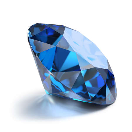 Great magnificent sapphire. 3d image. Isolated white background.