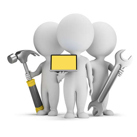 rendering: 3d small people - computer repairmen with tools. 3d image. White background.